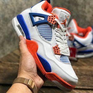 Nike Air Jordan 4 white orange blue